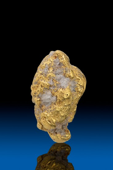 Oblong and Chunky Quartz in Gold Alaskan Gold Nugget - 3.70 gram