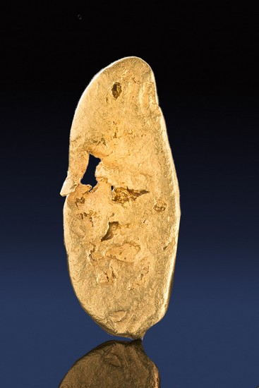 Thin and Oval Shaped Natural California Gold Nugget