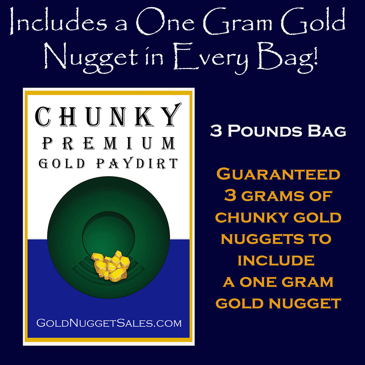 Chunky Gold -3 Grams Chunky Gold to Include a 1 Gram Gold Nugget