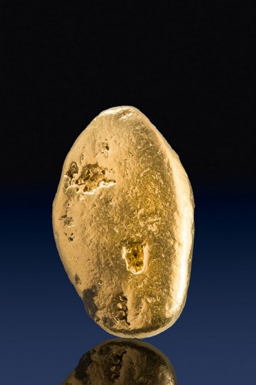 Oval River Worn Natural Yukon Gold Nugget