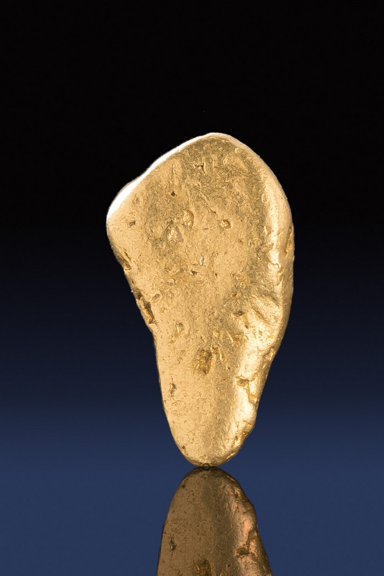 Tapered and Smooth Natural River Worn California Gold Nugget